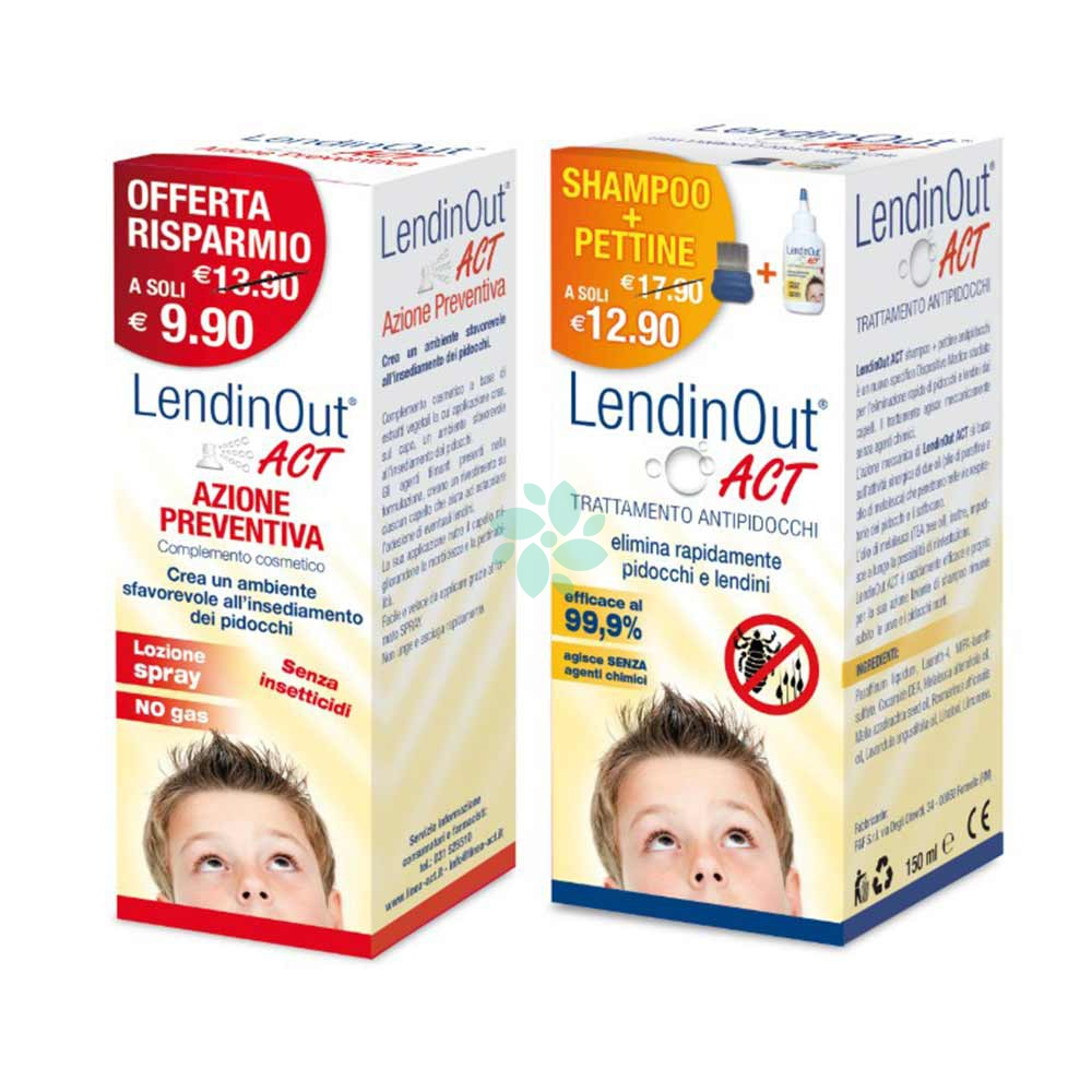 Linea ACT Lendinout Kit Anti-Pidocchi Shampoo+Pettine +Spray Azione Preventiva
