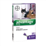Bayer Advantage 80 mg Spot-On Per Gatti Grandi Conigli Grandi 4 Pipette Da 0,8ml