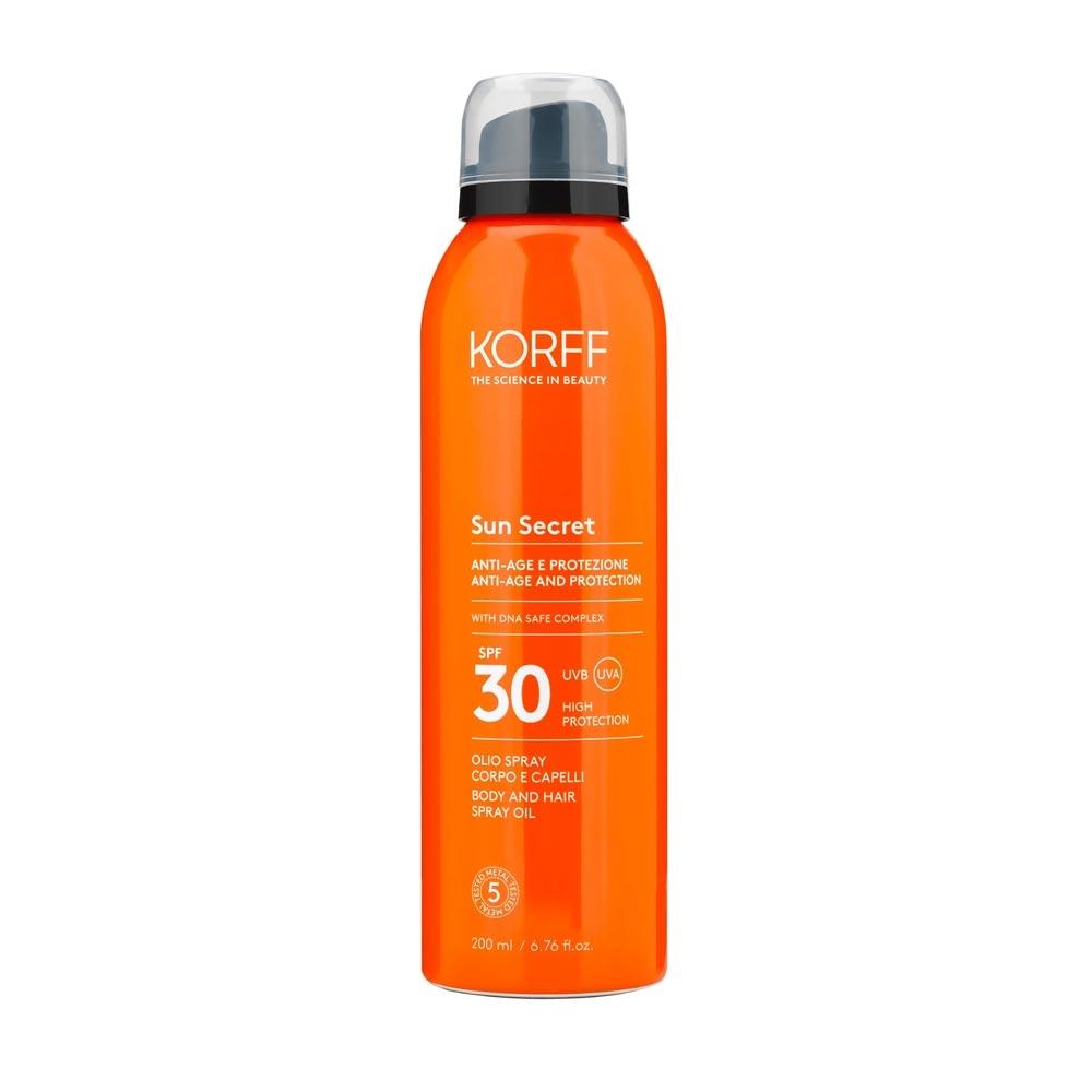 Korff Sun Secret - Olio Spray Corpo E Capelli SPF30, 200ml