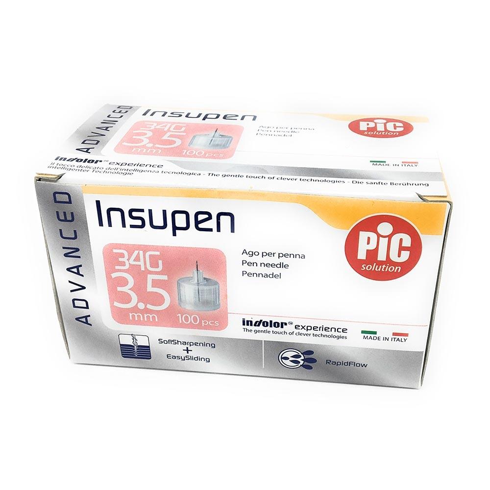 Pic Insupen Advanced Ago Penna Insulina Misura 34G 3,5mm, 100 Pezzi
