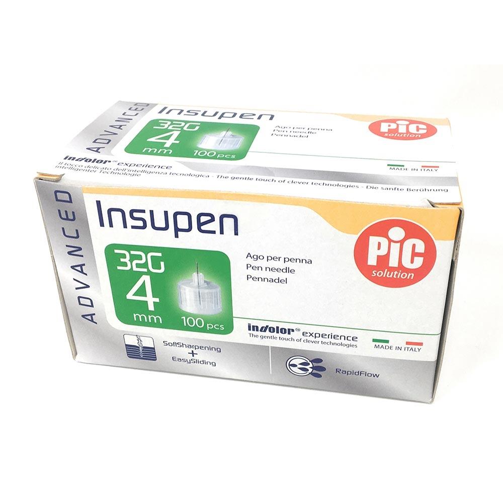 Pic Insupen Advanced Ago Penna Insulina Misura 32G 4mm, 100 Pezzi