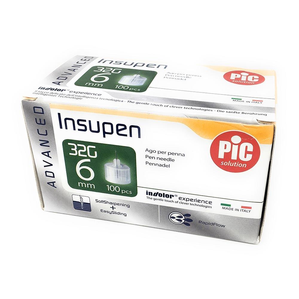 Pic Insupen Advanced Ago Penna Insulina Misura 32G 6mm, 100 Pezzi