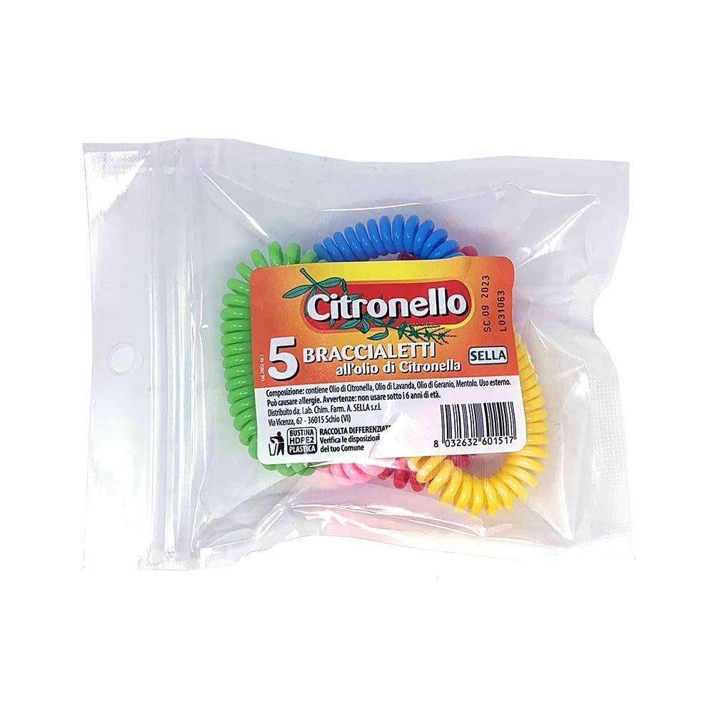 Sella Citronello - Bracciale Protettivo Anti-Zanzara, 5 Bracciali