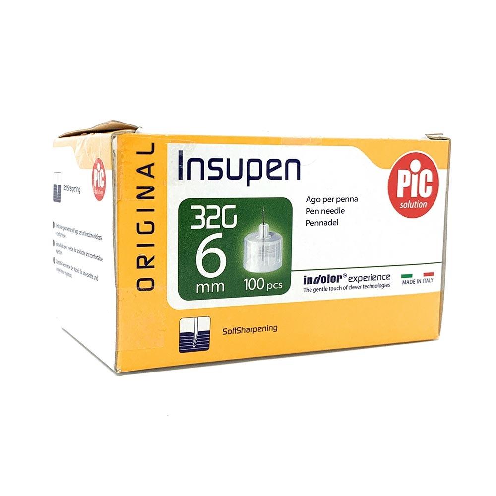 Pic Insupen Original Ago Penna Insulina Misura 32G x 0.23mm 6mm, 100Aghi